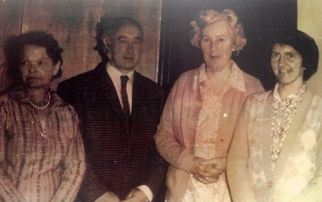Master Mc Call (Principal 1950-1980) with Mrs O Sullivan, Mrs Renaghan and to the right Mrs Lappin who lived locally and was a past pupil, teacher, Vice Principal and Principal (1988-2001)
